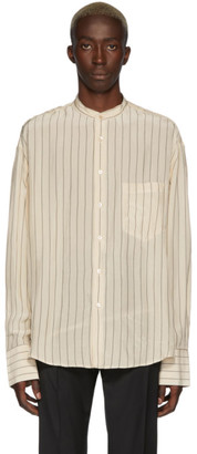 Cmmn Swdn Beige Stripe Collarless Shirt