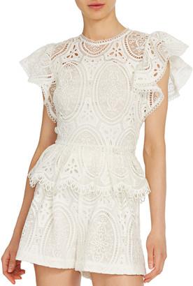 ML Monique Lhuillier Lace Ruffle-Sleeve Top