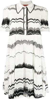 Missoni Short Sleeve Zig Zag Knit Polo Dress