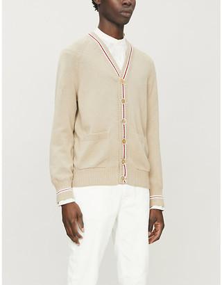 Brunello Cucinelli Striped-trim V-neck cotton-knit cardigan