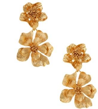 Oscar de la Renta Classic Goldtone Flower Clip-On Drop Earrings