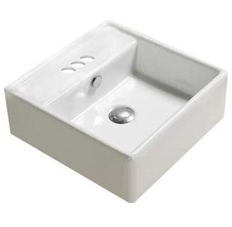 American Imaginations Center Drilling Ceramic Square Wall Mount Bathroom Sink with Overflow