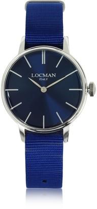 Locman 1960 Silver Stainless Steel Women's Watch w/Blue Canvas Strap