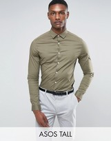 Asos TALL Skinny Shirt In Light Khaki