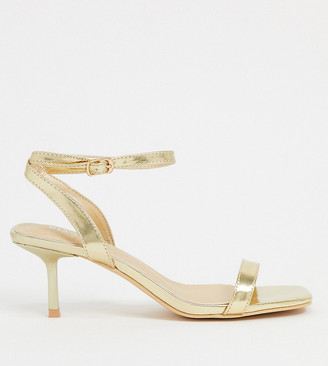 Glamorous Wide Fit heeled sandals with ankle strap in gold
