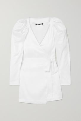Rotate by Birger Christensen Stretch-satin Wrap Mini Dress - White