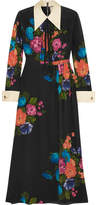 Gucci Grosgrain-trimmed Floral-print Silk Crepe De Chine Midi Dress - Black