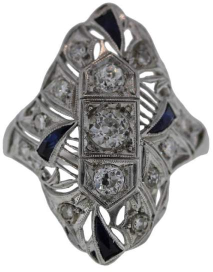 Estate Platinum With 0.84 ct Diamond and Sapphire Cocktail Ring