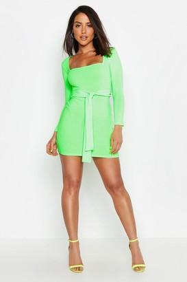 boohoo Neon Rib Square Neck Belted Bodycon Dress