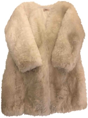 Meteo White Mongolian Lamb Coat for Women