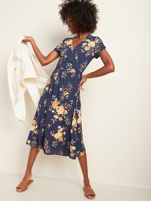 Old Navy Fit & Flare Tie-Waist Wrap Midi Dress for Women