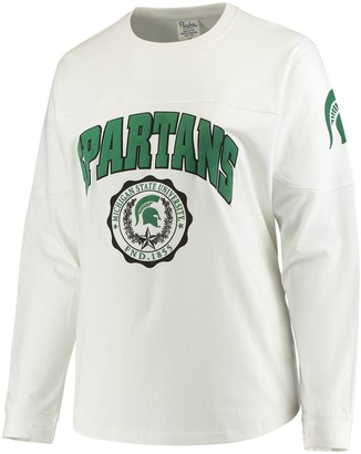 Women's White Michigan State Spartans Plus Size Edith Long Sleeve T-Shirt