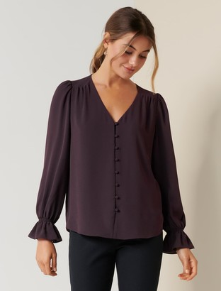 Forever New Charlotte Button-Through Blouse - Plum Muse - 4