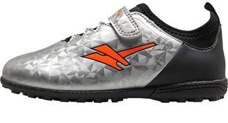 Gola Kids Alpha VX Velcro TF Astro Football Boots Silver/Black/Orange