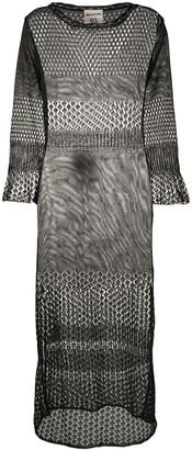 Semi-Couture Crochet Knit Midi Dress