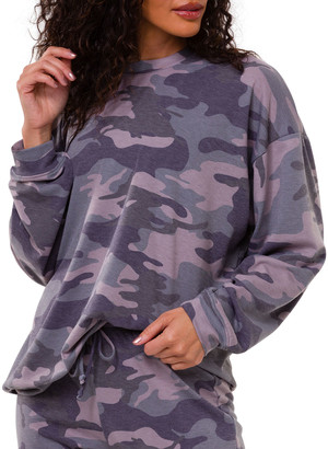 Onzie Camo-Print Drop-Shoulder Boyfriend Sweatshirt