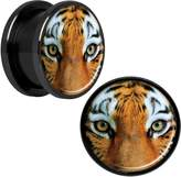 """Body Candy Black Anodized Steel Full Color Tiger Eyes Screw Fit Plug Set 5/8"""""""
