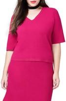 Rachel Roy Plus Size Women's Pebble Jacquard Boxy Pullover