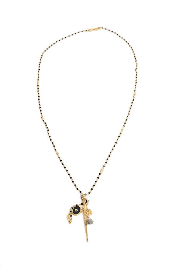Chan Luu Nickel Onyx Gold Dagger Pendant Necklace
