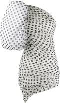 Puffed Sleeve Polka Dot Print Silk Dress