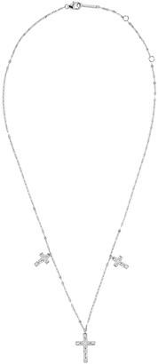 Lana 14k White Gold Mega Flawless 3-Cross Necklace w/ Diamonds
