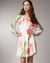 Iris-Print Drawstring Dress