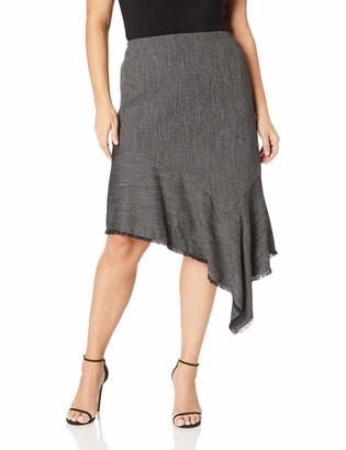Anne Klein Women's Size Plus Asymmetric Ruffle Skirt