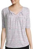 Liz Claiborne Elbow-Sleeve Tie-Front T-Shirt - Petite