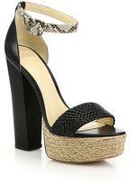 Alexandre Birman Alicia Braided Leather & Python Espadrille Platform Sandals