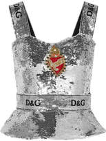 Dolce & Gabbana Embellished Sequined Tulle Bustier Top - Silver