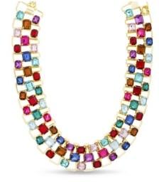 Kensie Rhinestone Baguette Bib Necklace