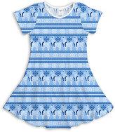 Urban Smalls Blue & White Llamakkah Skater Dress - Toddler & Girls