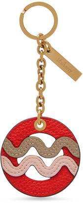 Mulberry Zodiac Keyring - Aquarius Lipstick Red and Solid Grey