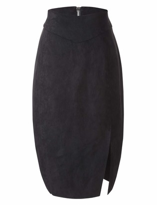 Bellivera Women's Faux Suede Pencil Skirt Hip Wrapped Back Split for Spring Summer and Autumn Black Small
