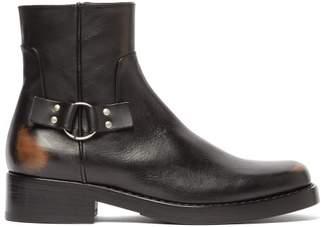 Raf Simons Distressed Leather Square Toe Boots - Mens - Black