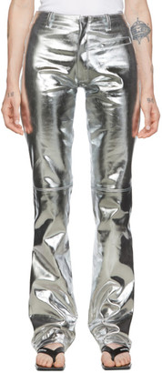 Marine Serre Silver Foiled Flared Trousers