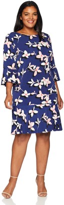 Eliza J Women's Plus Size Floral Print Shift Dress