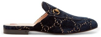 Gucci Princetown Velvet Backless Loafers - Womens - Blue