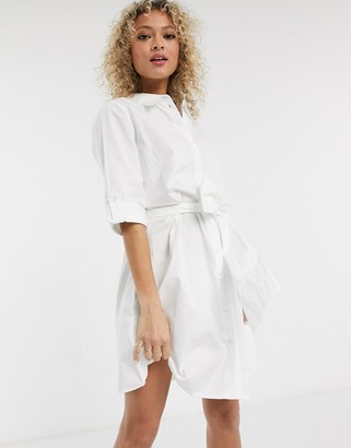 JDY shirt dress with tie waist in white
