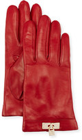 Portolano Leather Lock-Cuff Gloves, Red