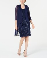 Thumbnail for your product : R & M Richards Sequin Embroidered Dress & Duster Jacket