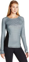 Cuddl Duds Women's Sportlayer Crew Neck Top, Grey/Print