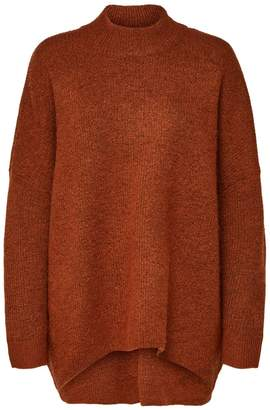 Selected Oversized High Neck Long Sleeved Jumper in Gingerbread - Size S