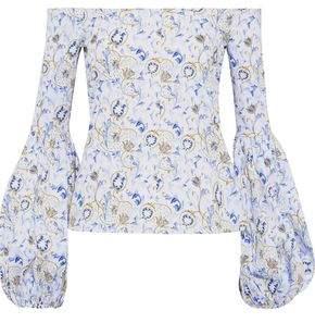 Caroline Constas Gisele Off-the-shoulder Floral-print Cotton-blend Poplin Blouse