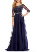 Terani Couture Illusion Sweetheart Neck 3/4 Sleeve Beaded Chiffon Gown