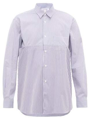 Comme des Garcons Cut-out Striped Cotton-poplin Shirt - Mens - Blue Multi
