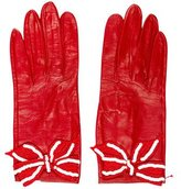 Saint Laurent Sequined Bow-Accented Gloves