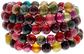 Savvy Cie Faceted Multicolor Agate Coil Wrap Bracelet