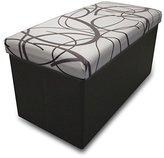 "Best Price Plus Swirl Design Memory Foam Folding Storage Ottoman with Faux Leather, 30"", White"