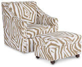 Michael Thomas Collection Baron Swivel Chair & Ottoman - Sand/Ivory